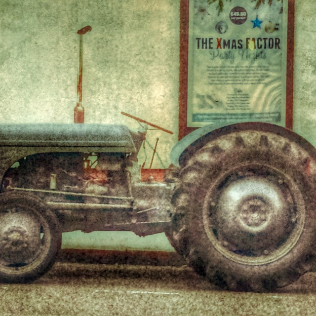 """tractor parked up outside crowne plaza nottingham"" stock image"
