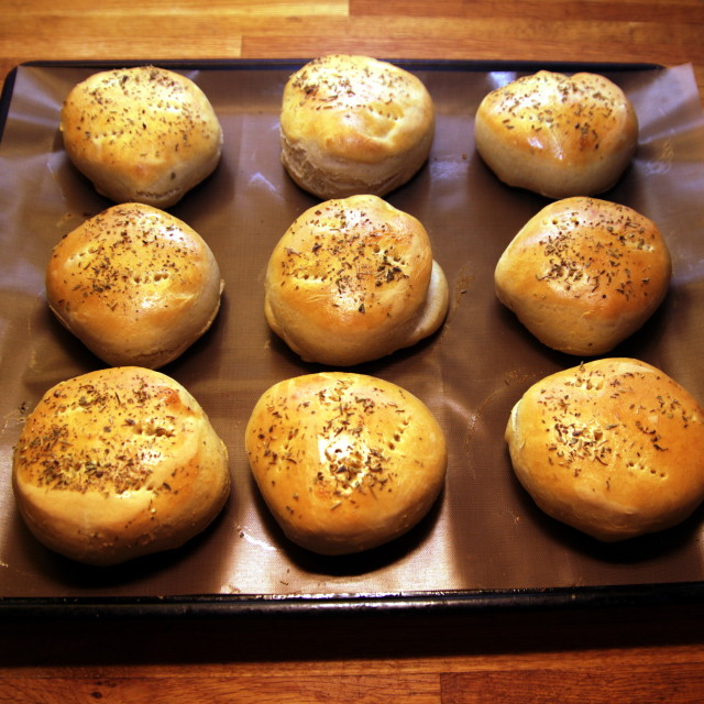 """Hamburger bread with oregano"" stock image"