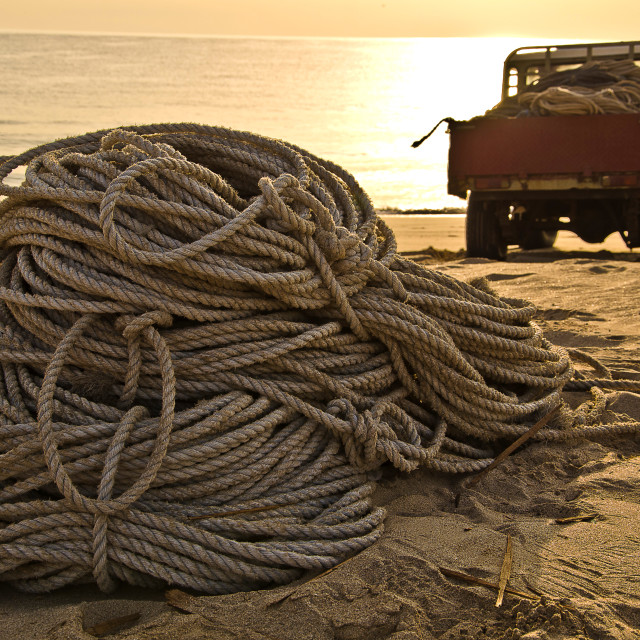 """Ropes on the beach"" stock image"