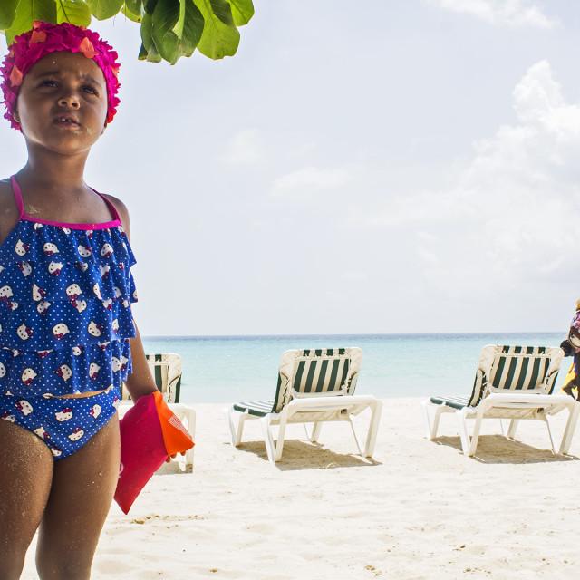 """Little Girl On Beach, Negril, Jamaica"" stock image"