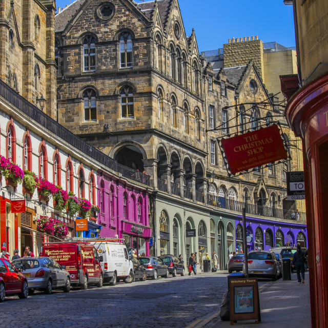 """Colorful street in Edinburgh"" stock image"