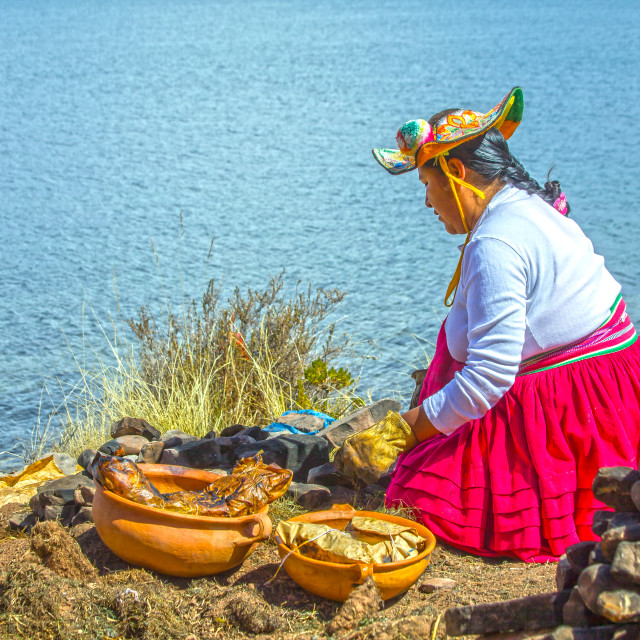 """Cooking in Taquile"" stock image"
