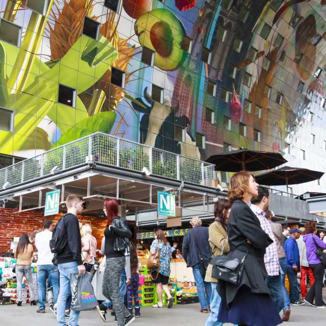 """Shoppers in the new Markthal"" stock image"