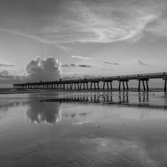 """B&W Beach & Pier"" stock image"