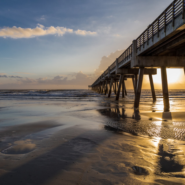 """Beach & Pier Sunrise"" stock image"