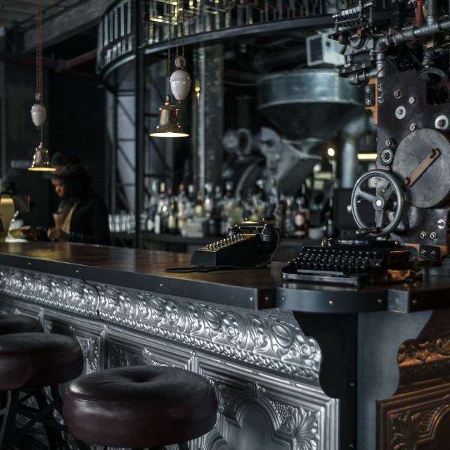 """steam punk cafe"" stock image"