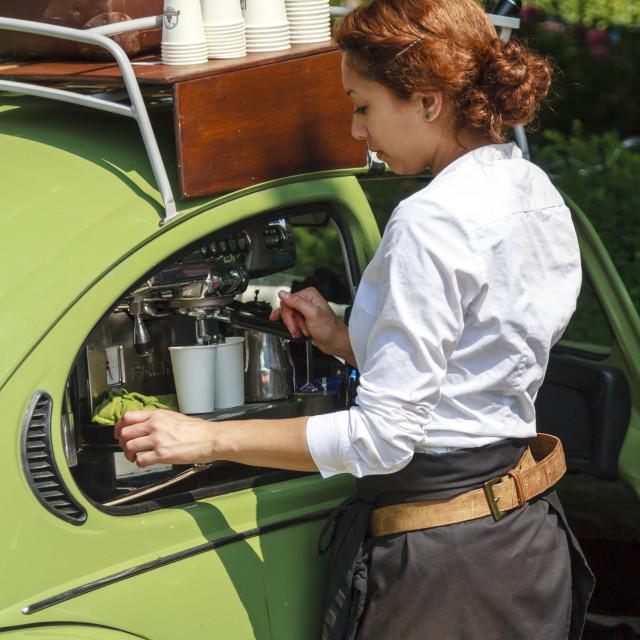 """Coffee machine in car"" stock image"