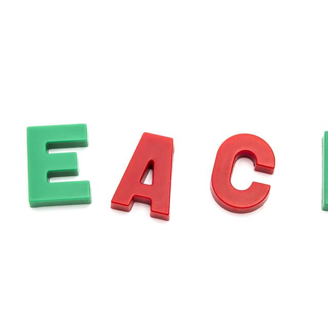 """magnet alphabet TEACH"" stock image"