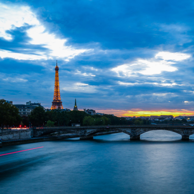 """Seine River at Dusk"" stock image"