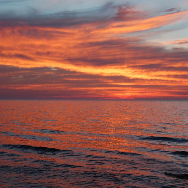 """Golden clouds at Lake Michigan"" stock image"