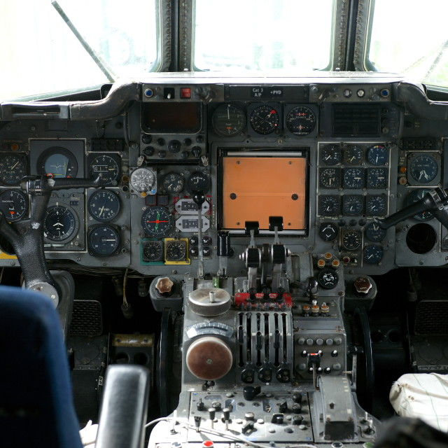 """""""Flight Deck of a Trident Airliner"""" stock image"""