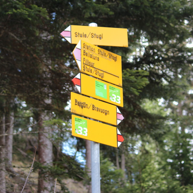"""Swiss walking signs in Albula valley"" stock image"