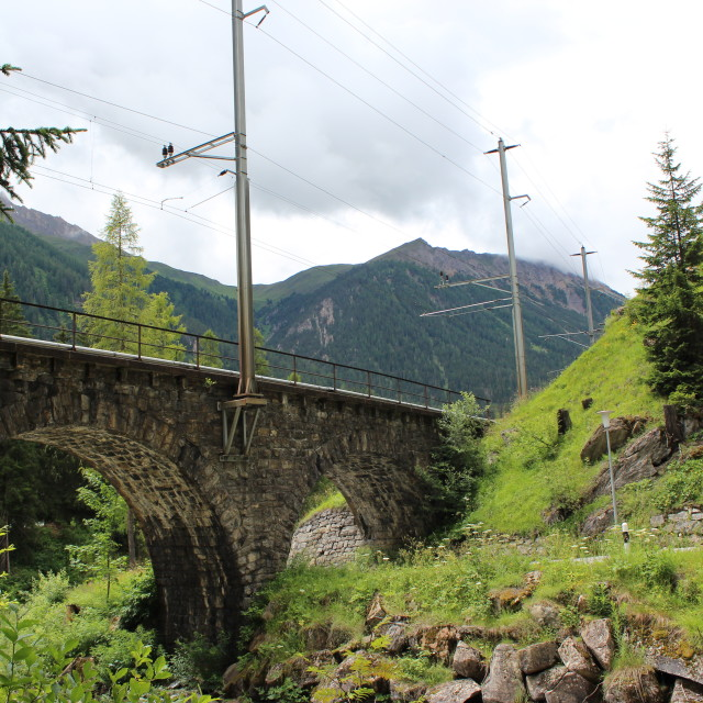 """Swiss railway viaduct in Albula valley"" stock image"