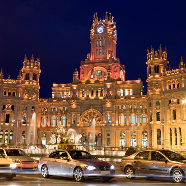 """""""Palacio de Comunicaciones on Plaza de Cibeles"""" stock image"""