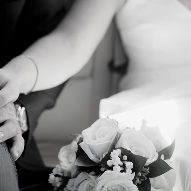 """Groom and bride in wedding holding hands black and white"" stock image"
