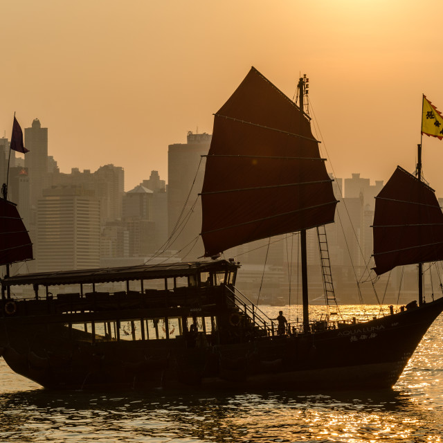 """""""Junk Boat hong Kong"""" stock image"""