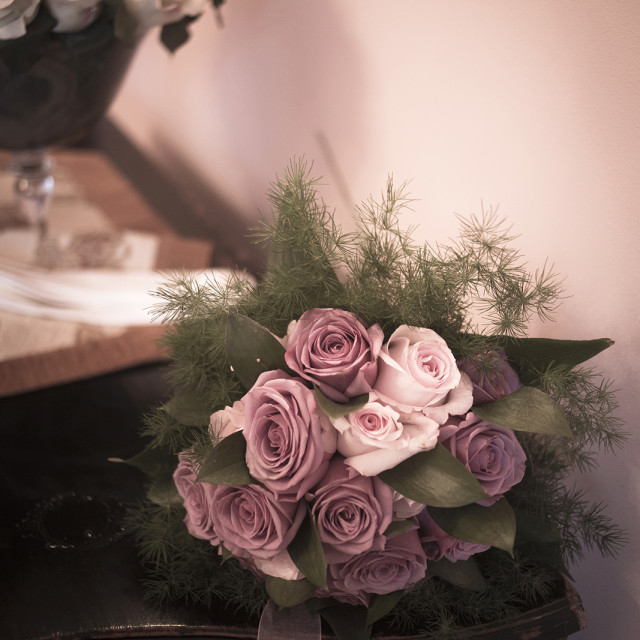 """""""Bouquet of bride in bedroom still life marriage photo"""" stock image"""