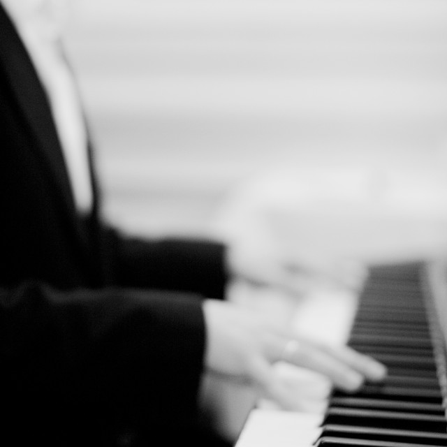 """""""Pianist in wedding marriage party playing piano"""" stock image"""
