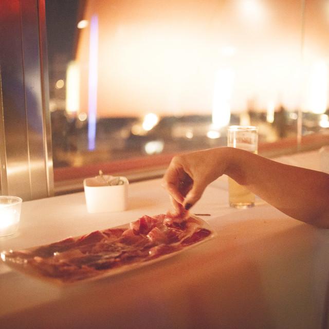 """Plate of Iberian cured ham in Spanish wedding"" stock image"