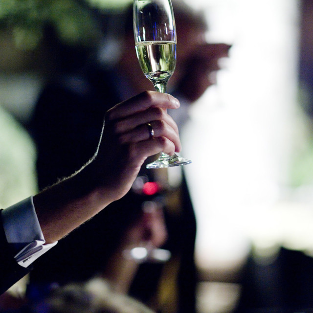 """""""Wedding guest holding champagne sparkling wine glass in garden party"""" stock image"""