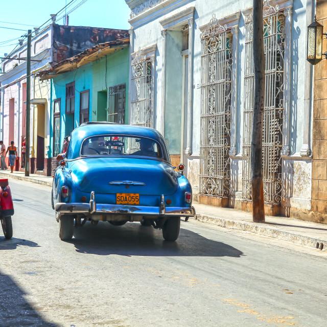 """Streetlife with car in Trinidad, Cuba"" stock image"