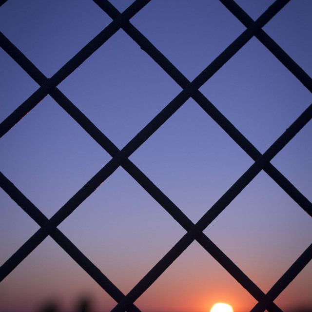 """""""Sunset sun and blue dusk sky and wire mesh fence color photo stock"""" stock image"""