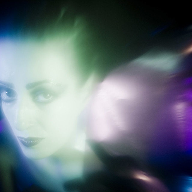 """""""Surreal young lady in nightclub disco lights Photo Portraiture Stock Image Model released"""" stock image"""