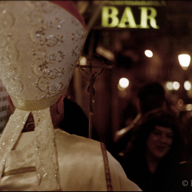 """""""The pope goes out drinking bar pub street portrait photo"""" stock image"""