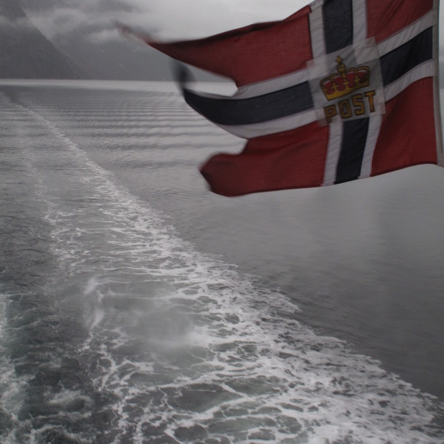 """Norwegian flag in the Fjords"" stock image"