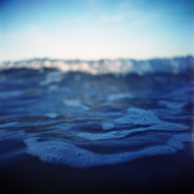 """Blue surreal sea ocean Ibiza medium format analog film Hasselblad photo"" stock image"