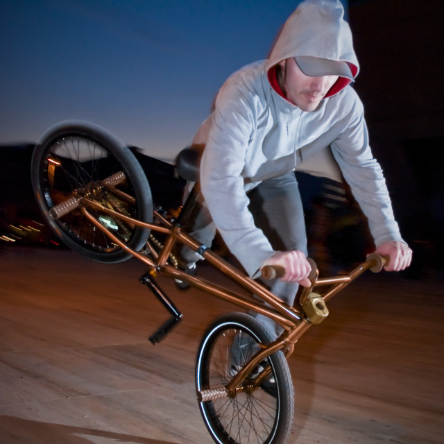 """Bmx training at night"" stock image"