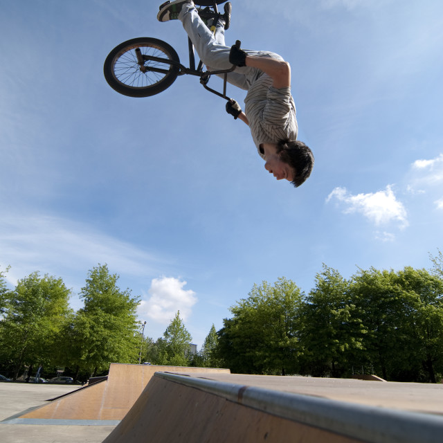 """BMX Bike Stunt Back Flip"" stock image"