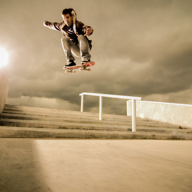 """Skateboard ollie"" stock image"