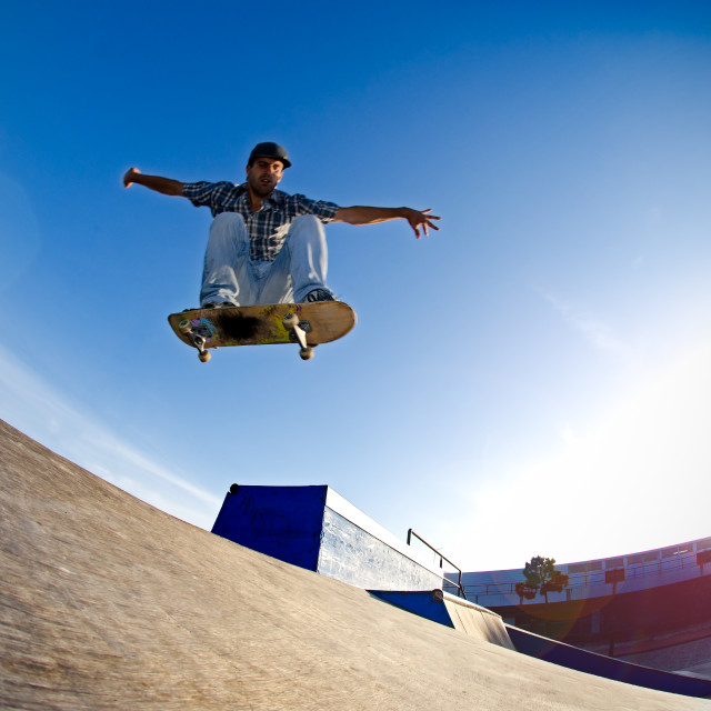 """Skateboarder flying"" stock image"