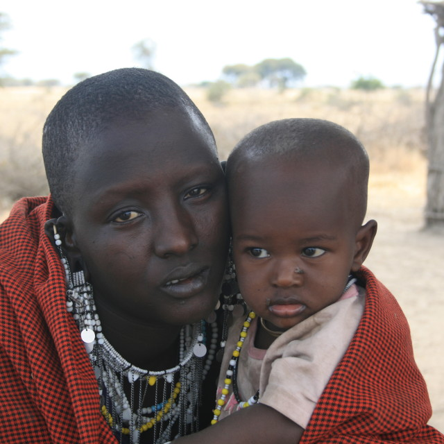 """Masai father and child"" stock image"