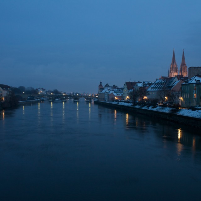 """Silent Night in Regensburg (Germany)"" stock image"