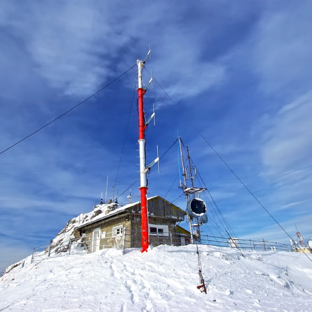 """Weather station on mountain top"" stock image"
