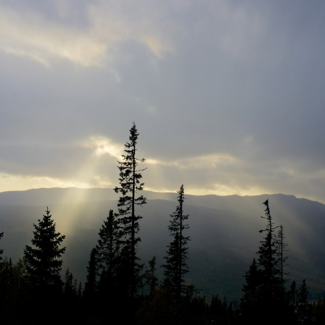"""""""Sunlight on mountain side on a grey day"""" stock image"""