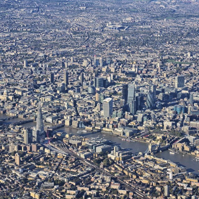 """Central London from air landscape"" stock image"