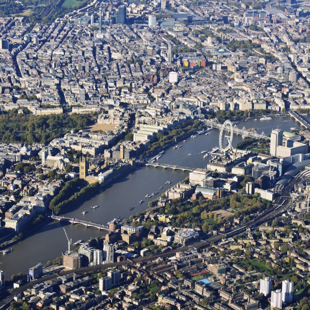 """Central London from air"" stock image"