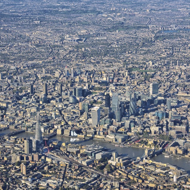 """Central London from air portrait"" stock image"
