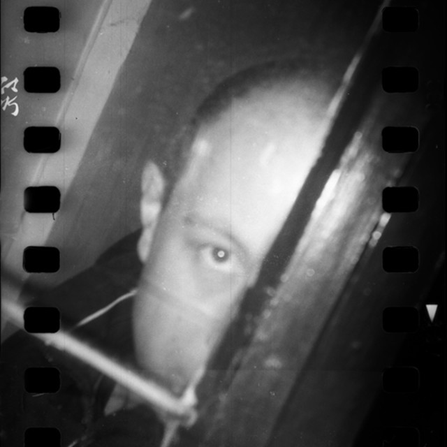 """Black and white film photo analogue model released photographer self portrait Holga lomo toycam"" stock image"