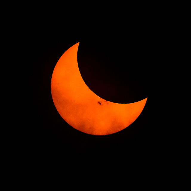 """Partial Solar Eclipse Oct 23, 2014"" stock image"