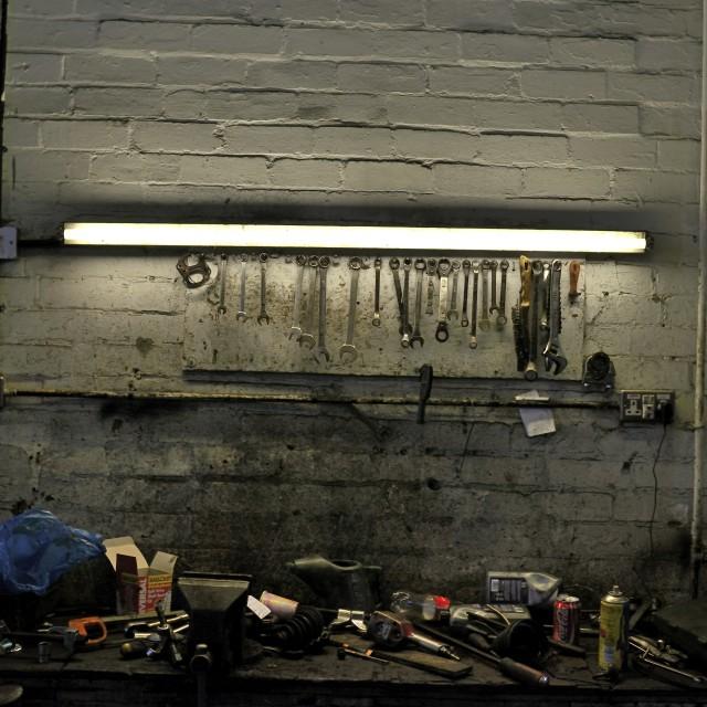 """Garage workbench"" stock image"