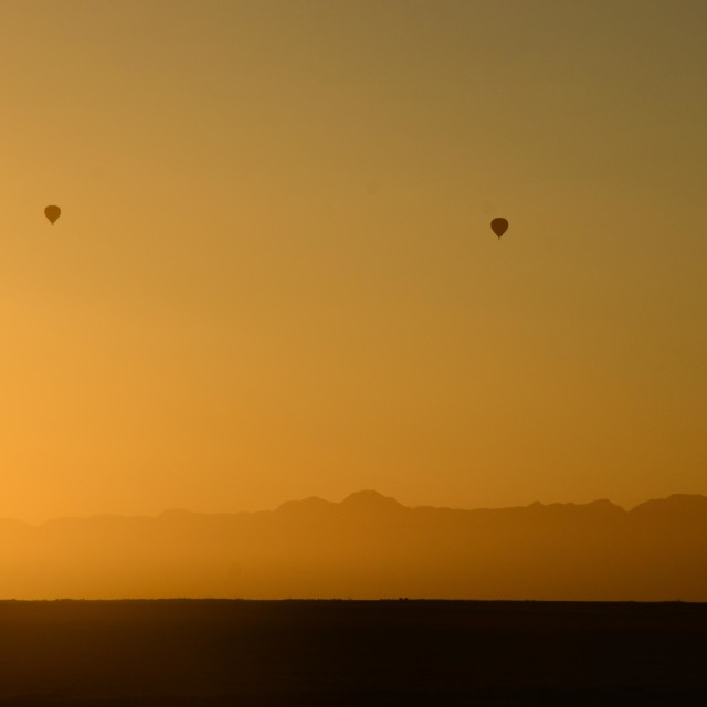 """Airballoon desert sunrise"" stock image"