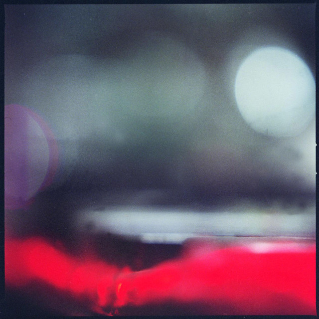 """Analog abstract art medium format Hasselblad film analogue photo in red and grey"" stock image"
