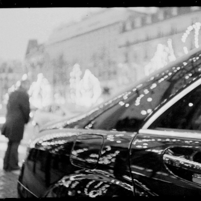 """Paris Champs Elysees Mercedes S 500 class artistic black and white"" stock image"