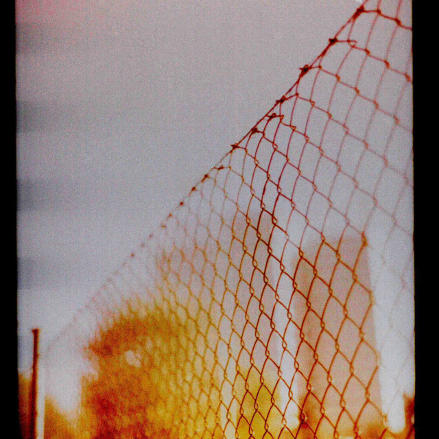 """""""Urban city fence and tower blocks artistic photo"""" stock image"""