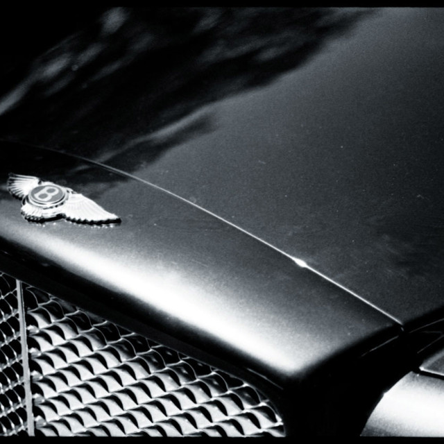 """Bentley luxury sports saloon car 35mm artistic analogue film photo black and white"" stock image"