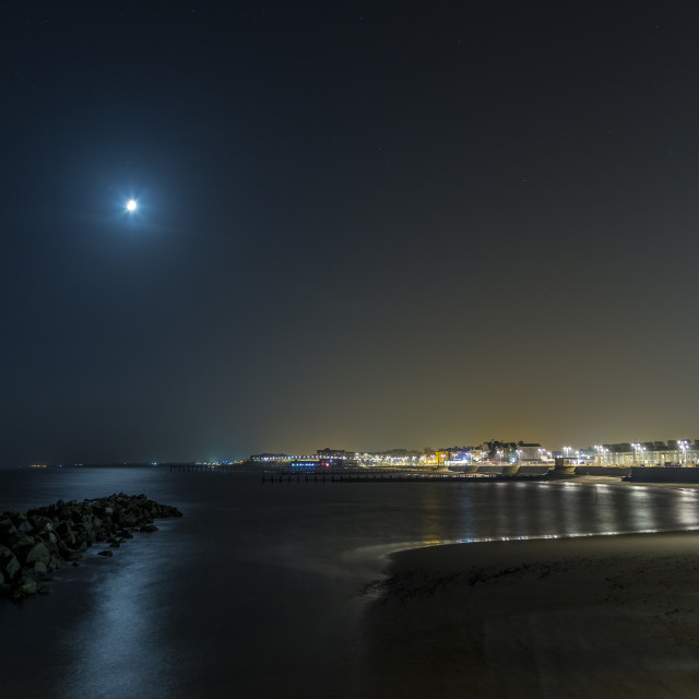 """""""Seafront by Moonlight"""" stock image"""